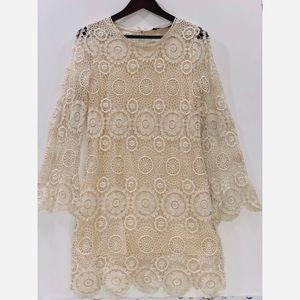 Zara Beige Crochet Dress w/Bell Sleeves Small